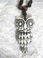 NEW WHITE WITH BROWN RESIN NIGHT HOOT OWL BIRD PENDANT ADJ STRING CORD NECKLACE
