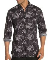 John Varvatos Star USA Men's Long Sleeve Clayton Floral Shirt Cotton Linen Black