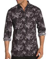 John Varvatos Star USA Men's Long Sleeve Clayton Floral Shirt Cotton Linen Black