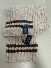 Polo Ralph Lauren Lambswool Scarf Chunky Knit Tan Brown  New With Tags 6 Ft