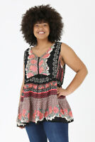 New Angie Top 1X Black Pink Floral Boho Peasant Crochet Tank Plus Size