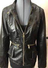 STEVE MADDEN Faux Leather Black Long Sleeve Lined Moto Jacket Size M MSRP $129