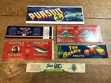 LOT OF 6 DIFFERENT PRODUCT LABELS - CANS AND FRUITS