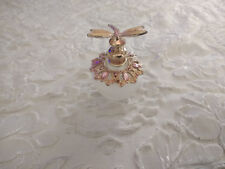 Vintage Empty Perfume Bottle Enameled Pink Bejeweled Glass Bottle