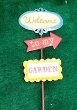 Miniature Dollhouse Fairy Garden Welcome to My Garden Metal Sign