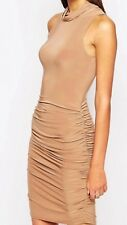 Club L Light Beige Slinky Pencil Dress With Side Ruched Detail UK 10