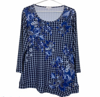 W Lane Womens Blue Floral Long Sleeve Blouse Size M