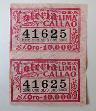 PERU scarce lottery ticket 1931 Loteria Lima y Callao 10.000 soles, stripe of 2