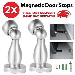 2 x Magnetic Door Stops Buffer Wedge Stop Holder Stopper Stainless Steel Metal