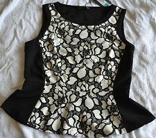 Ladies M&S black and white sleeveless peplum top size 8 BNWT