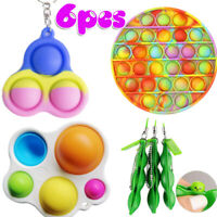 6 Pack Fidget Sensory Toy Rainbow Simple Dimple For ADHD Bubble Stress Reliever