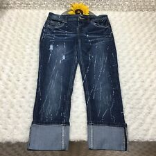 Almost Famous Womens Clam Diggers Jeans Size 5 - 29x23 Paint Splattered AR286