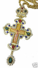 Pectoral Cross Colorful Zircons Crystallized Elements Christian Priest Crucifix