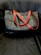 PRELOVED GiGi Black Leather Handbag with Red Handles