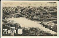 Ansichtskarte Bodenseepanorama - schwarz/weiß - mit Bergen und Dörfern