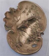Antique Austrian Gilt Bronze Art Nouveau Dish~Geschutzt Bergman~Pond Scene~Vgc
