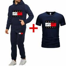 Mens 3Pcs Set Hoodies+T-shirt+Pants Tracksuit Gym Bottoms Sport Jogging Suit UK