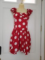 AIVEI Women's Polka Dot Lined Dress With Pockets Multi Color SZ/6 Gently Worn!