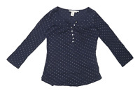 H&M Womens Size M Spotted Cotton Blue T-Shirt (Regular)