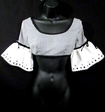 Vintage CROP TOP 1950's 60s Belly Shirt Striped Pirate Ruffled Sleeves Blouse XS