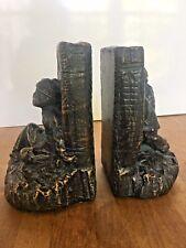 Heavy Black Bronzed Patina Bookends Murobello Charleston Sc Figures Holding Book