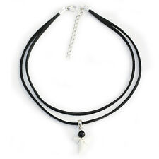 Real Shark tooth Charm Pendant Double Layer Choker Necklace Black Velvet Cord