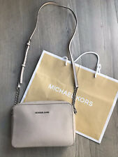 MICHAEL KORS JET SET LARGE GREY CHAIN CROSSBODY CAMERA BAG SAFFIANO LEATHER