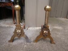 ANTIQUE LARGE BRASS FIRE PLACE ANDIRONS
