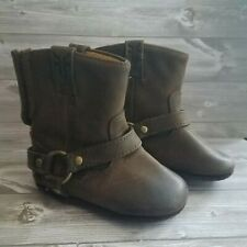 Frye Infant Girls Harness Bootie Boots Size 1 Brown Leather With Suede Bottoms