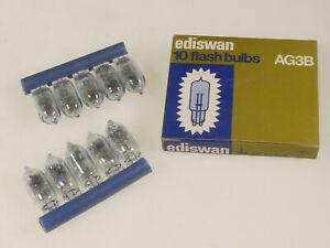 PRL) EDISWAN LAMPADINE AG3B 10x PHOTOFLASHES FLASH BULBS BOX AMPOULES LAMP PHOTO