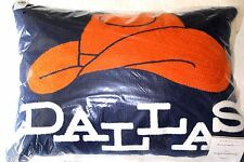 """Pottery Barn DALLAS Crewel Embroidered Pillow Cowboy Hat Blue Orange 12"""" x 16"""""""