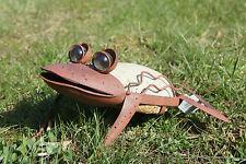 Tolle Gartendeko: Süßer Frosch aus Metall / Edelrost mit Steinbauch