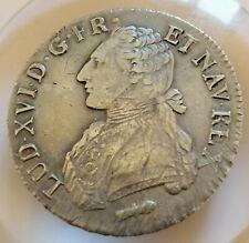 Écu aux branches d'olivier argent silver 1782 Q Perpignan France Louis XVI