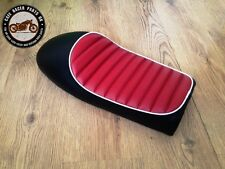 BLACK + RED WHITE LEATHER LOOK CAFE RACER SEAT + MULTI FIT BRACKETS *PROJECT KIT