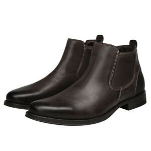 Men's Leather Ankle Chelsea Boots Slip On Round Toe Low Chunky Casual Shoes