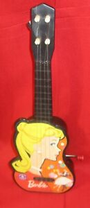 1963 CRANK UP TOY GUITAR BY MATTEL ''BARBIE'' COMPLETE PLAYS OLD TUNE 14''