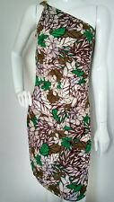 WALLIS one shoulder ruched bodycon dress size 10 --MINT-- knee length floral