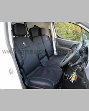 Peugeot Partner Van 2008+ Tailored Seat Covers. Black Leatherette with Logos