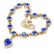 Women 18K Gold Plated Crystal Hearts Blue Sapphire Bracelet