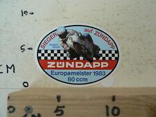 STICKER,DECAL HUBERT ABOLD EUROPAMEISTER 1983 80 CCM SIEGER AUF ZÜNDAPP ZUNDAPP