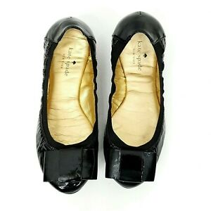Kate Spade New York Ballet Flats Sz 7.5 Black Patent Leather Bow Round Toe Shoes