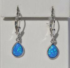 Echt 925 Sterling Silber Ohrringe Tropfen blau synth. Opal Geschenk Nr 308