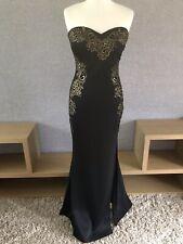 Stunning Lipsy Strapless Maxi Bodycon Dress, Mesh Panels And Split/Gold/Black 10
