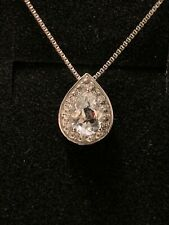 19e075757 *SPARKLING* Kay Jewelers Sterling Silver White Sapphire Tear Drop Necklace  18in
