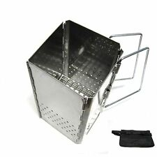 Stainless Steel Folding Charcoal Starter With Pouch BBQ Chimney Grilling Tools
