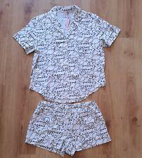 Victoria's Secret White Black Writing  Flannel Pyjamas Shirt & Shorts Size M