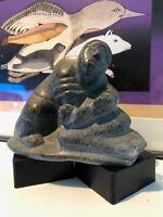 '70s Inuit Art Carving by J Kaitak Sugluk/Saluit Hunter Working