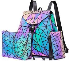 Leuchtender Farbwechsel Rucksack Cross Body Schultertasche Daypack Shopper Set