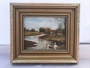 Vintage Oil Painting By D Till In Gold Tone Frame The Bure Ingworth Norfolk Art