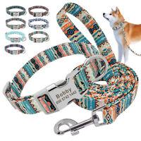 Blumen Personalisierte Hundehalsband Mit Leine Gravur Namen für Hunde 7 Farben